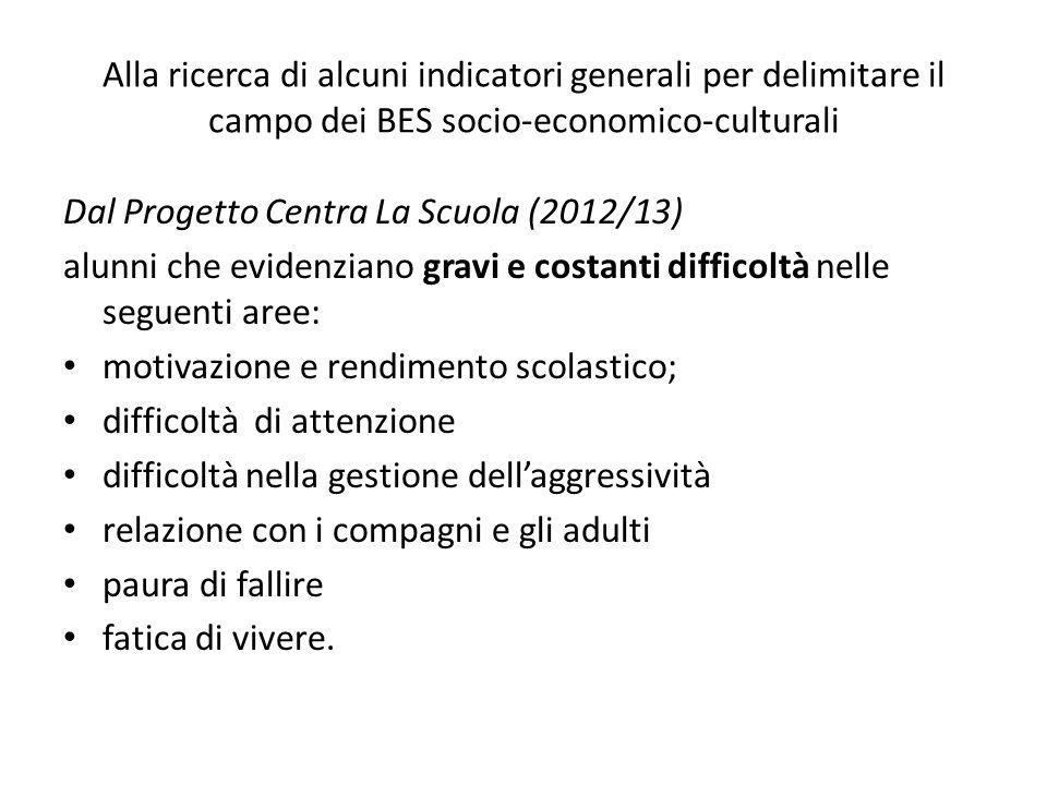 Alla ricerca di alcuni indicatori generali per delimitare il campo dei BES socio-economico-culturali