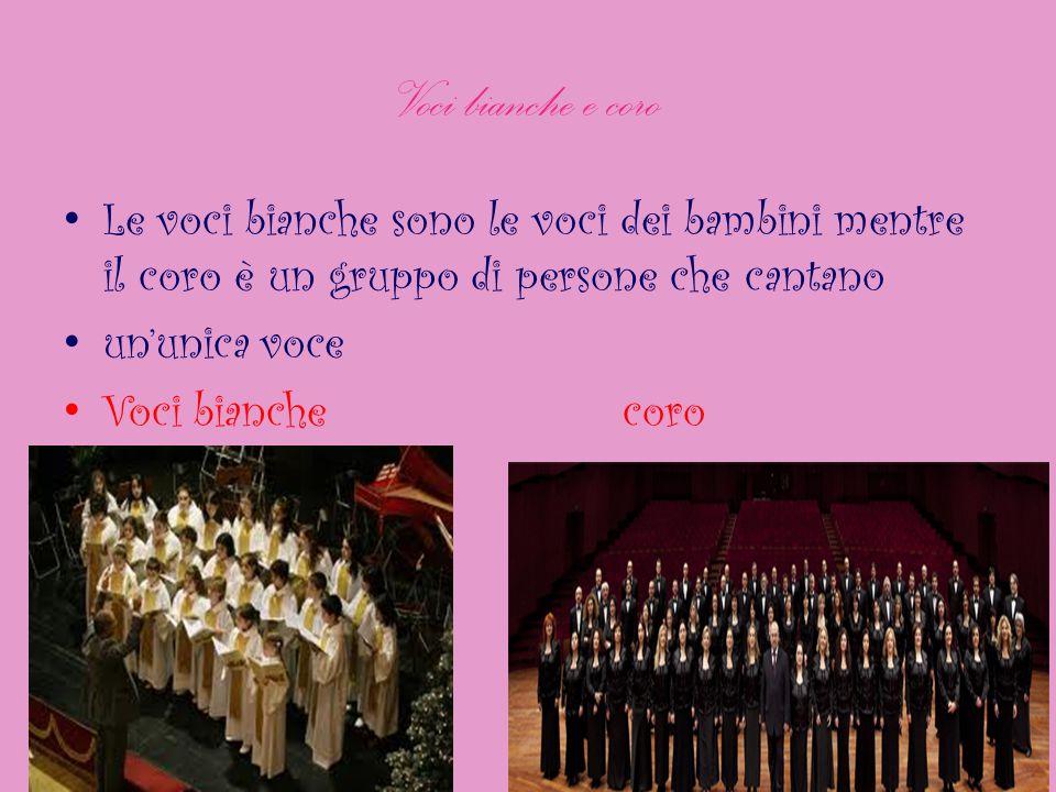 Voci bianche e coro Le voci bianche sono le voci dei bambini mentre il coro è un gruppo di persone che cantano.