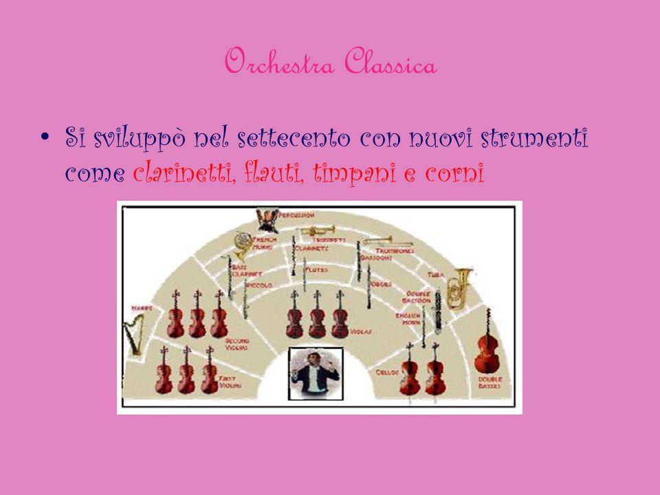 Orchestra Classica Si sviluppò nel settecento con nuovi strumenti come clarinetti, flauti, timpani e corni.