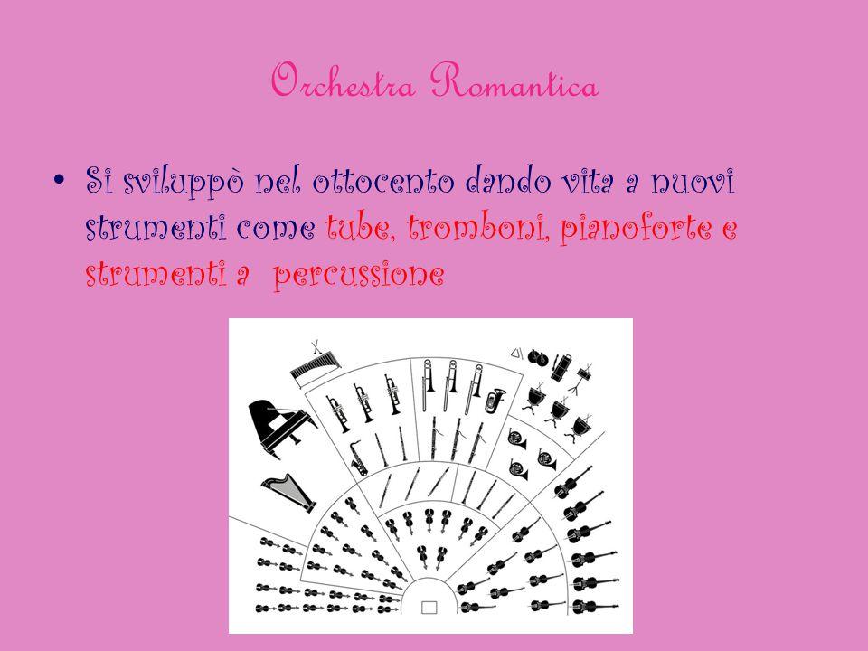 Orchestra Romantica Si sviluppò nel ottocento dando vita a nuovi strumenti come tube, tromboni, pianoforte e strumenti a percussione.
