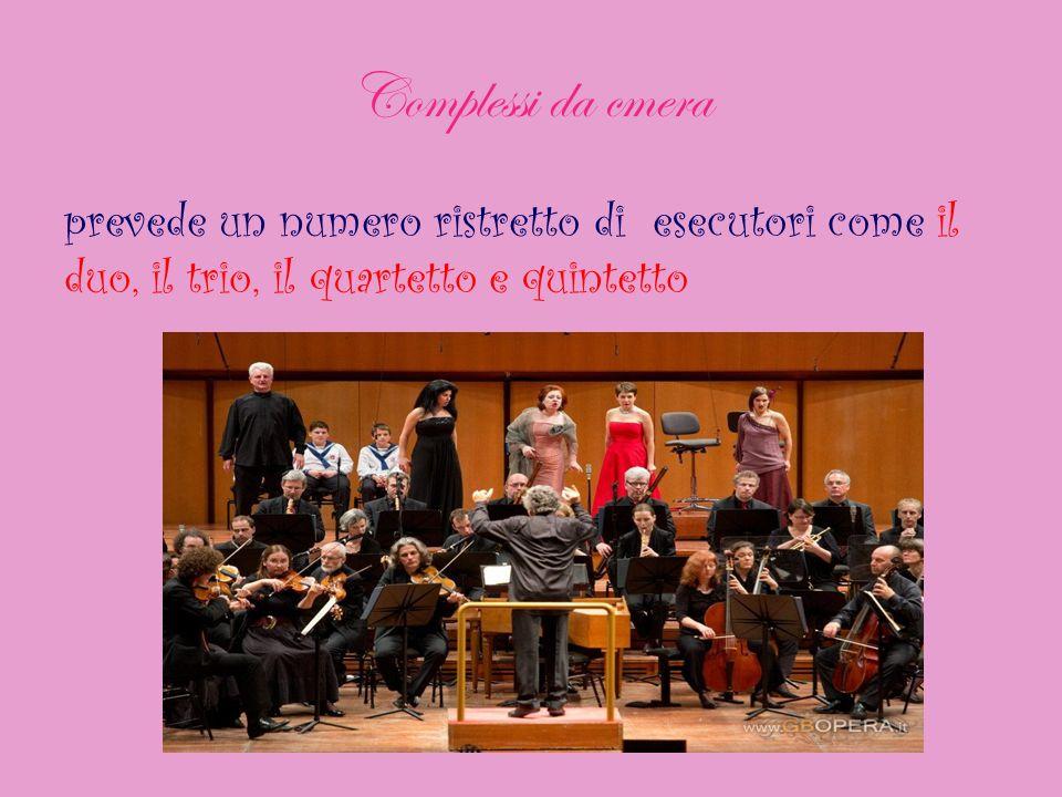 Complessi da cmera prevede un numero ristretto di esecutori come il duo, il trio, il quartetto e quintetto.