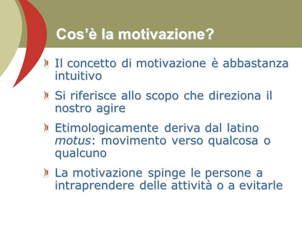 Cos'è la motivazione Il concetto di motivazione è abbastanza intuitivo. Si riferisce allo scopo che direziona il nostro agire.