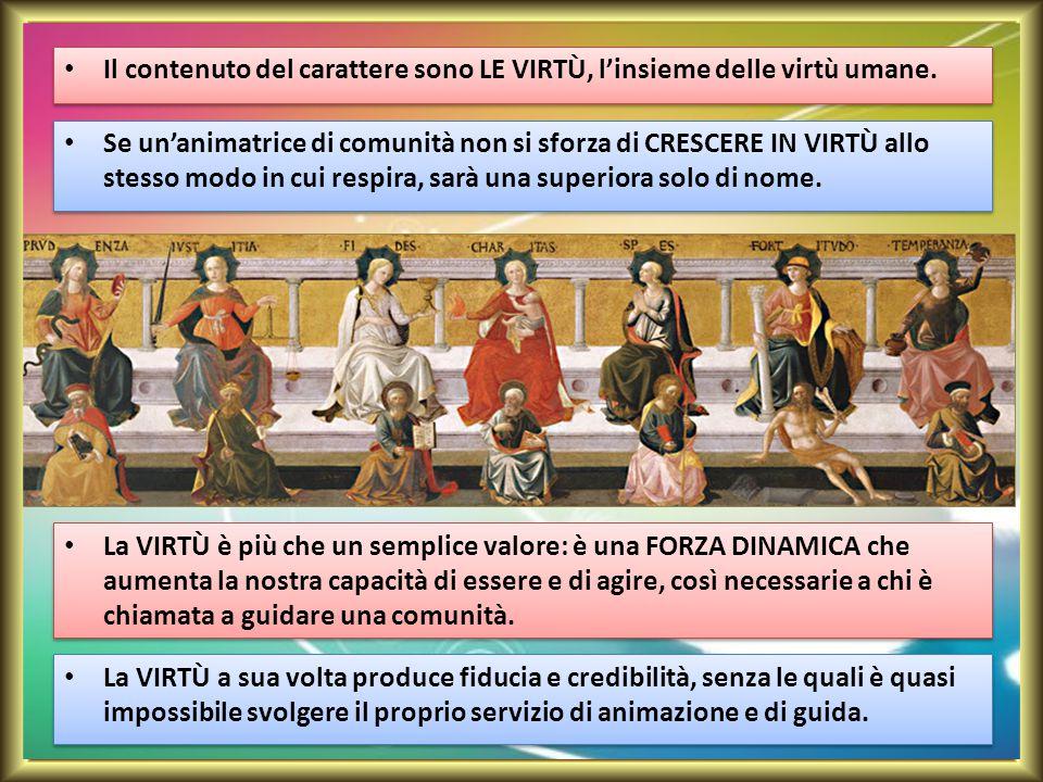 Il contenuto del carattere sono LE VIRTÙ, l'insieme delle virtù umane.