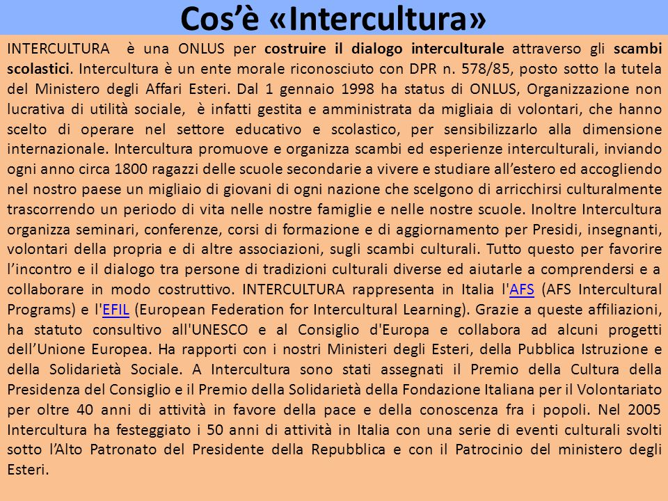 Cos'è «Intercultura»