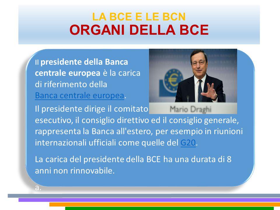 LA BCE E LE BCN ORGANI DELLA BCE