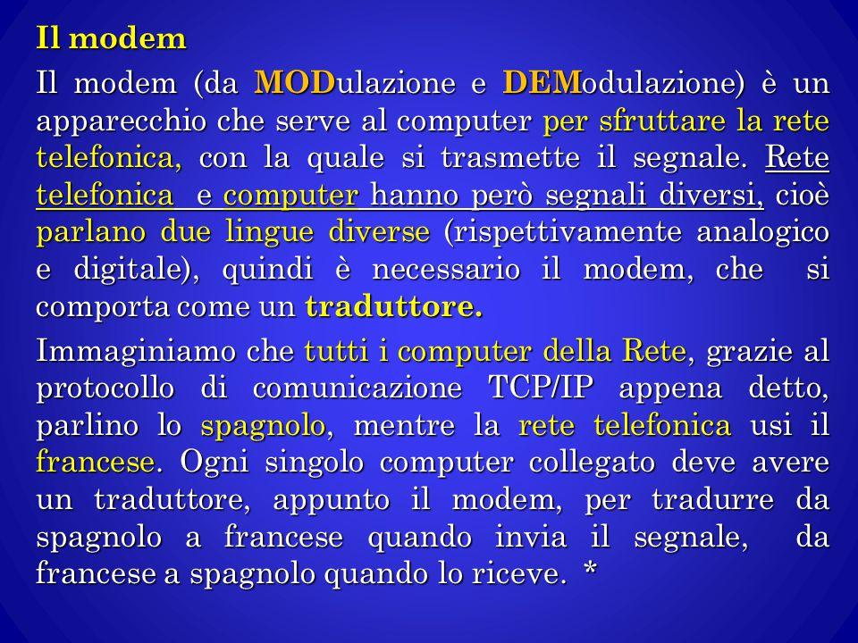 Il modem Il modem (da MODulazione e DEModulazione) è un apparecchio che serve al computer per sfruttare la rete telefonica, con la quale si trasmette il segnale.