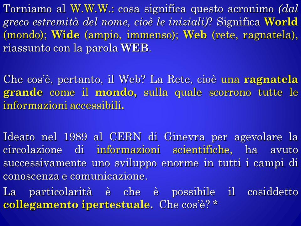 Torniamo al W.W.W.: cosa significa questo acronimo (dal greco estremità del nome, cioè le iniziali).