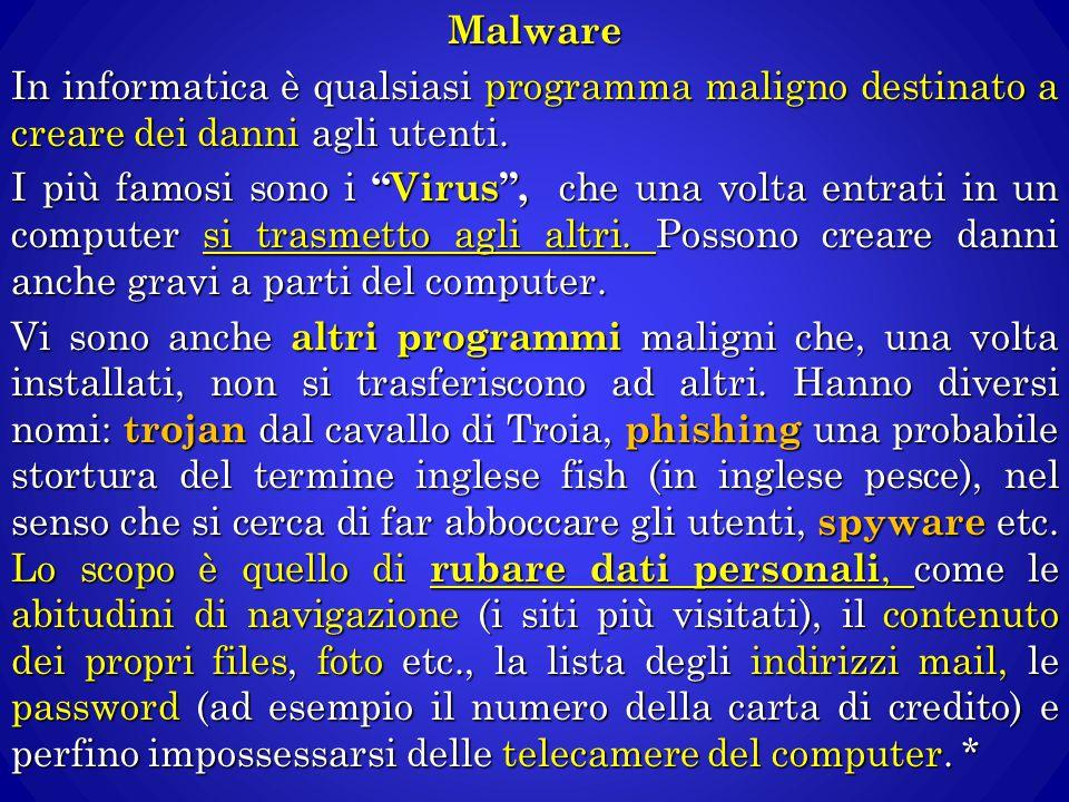 Malware In informatica è qualsiasi programma maligno destinato a creare dei danni agli utenti.