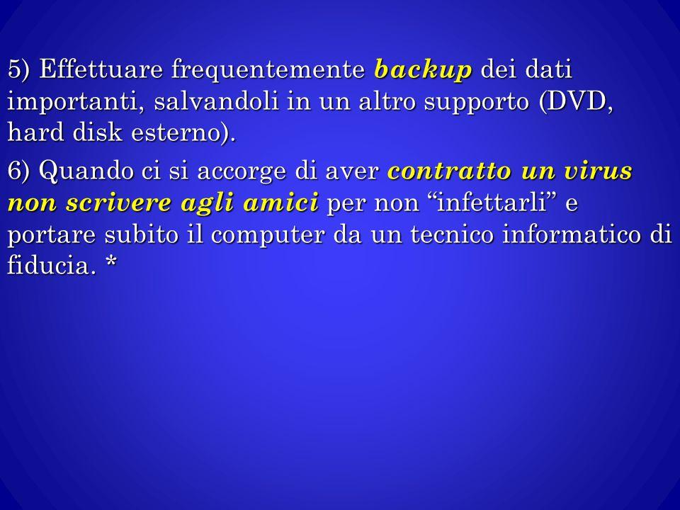 5) Effettuare frequentemente backup dei dati importanti, salvandoli in un altro supporto (DVD, hard disk esterno).