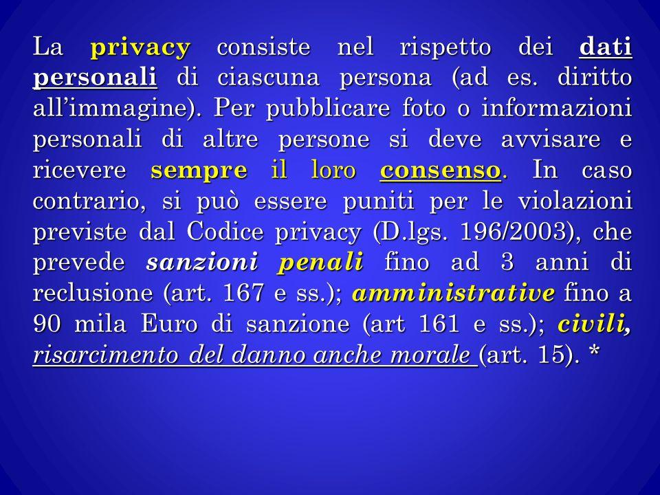 La privacy consiste nel rispetto dei dati personali di ciascuna persona (ad es.