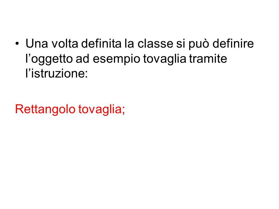 Una volta definita la classe si può definire l'oggetto ad esempio tovaglia tramite l'istruzione:
