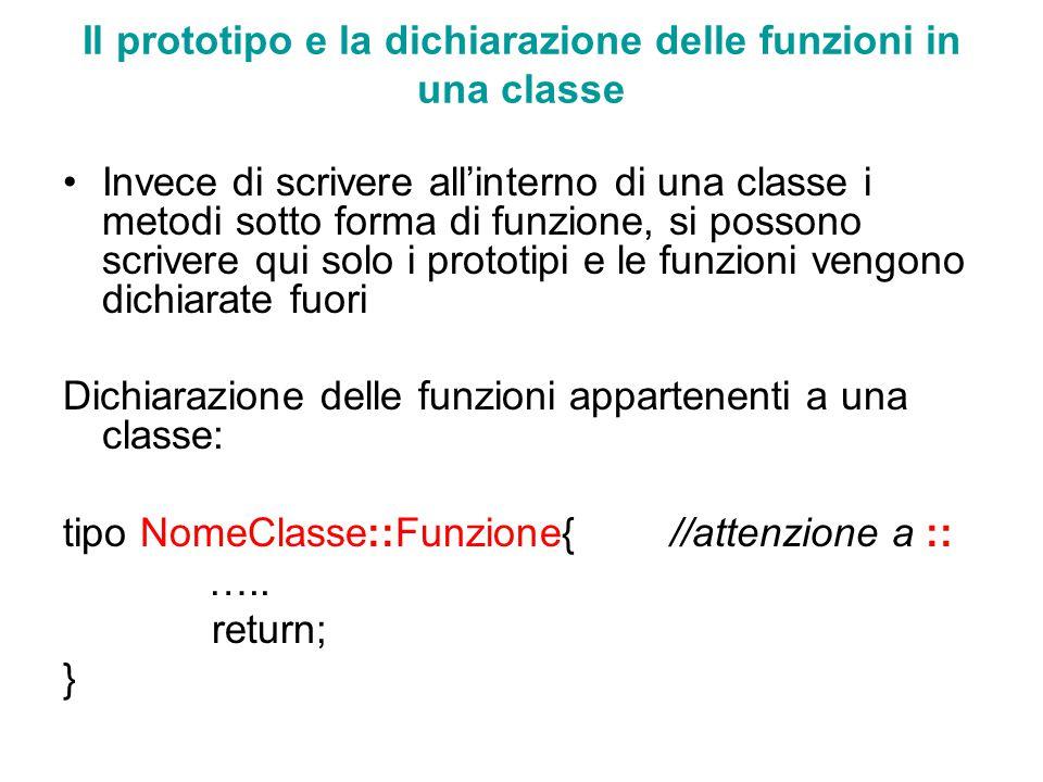 Il prototipo e la dichiarazione delle funzioni in una classe