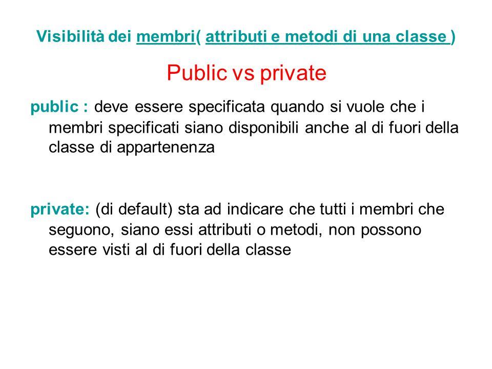 Visibilità dei membri( attributi e metodi di una classe )