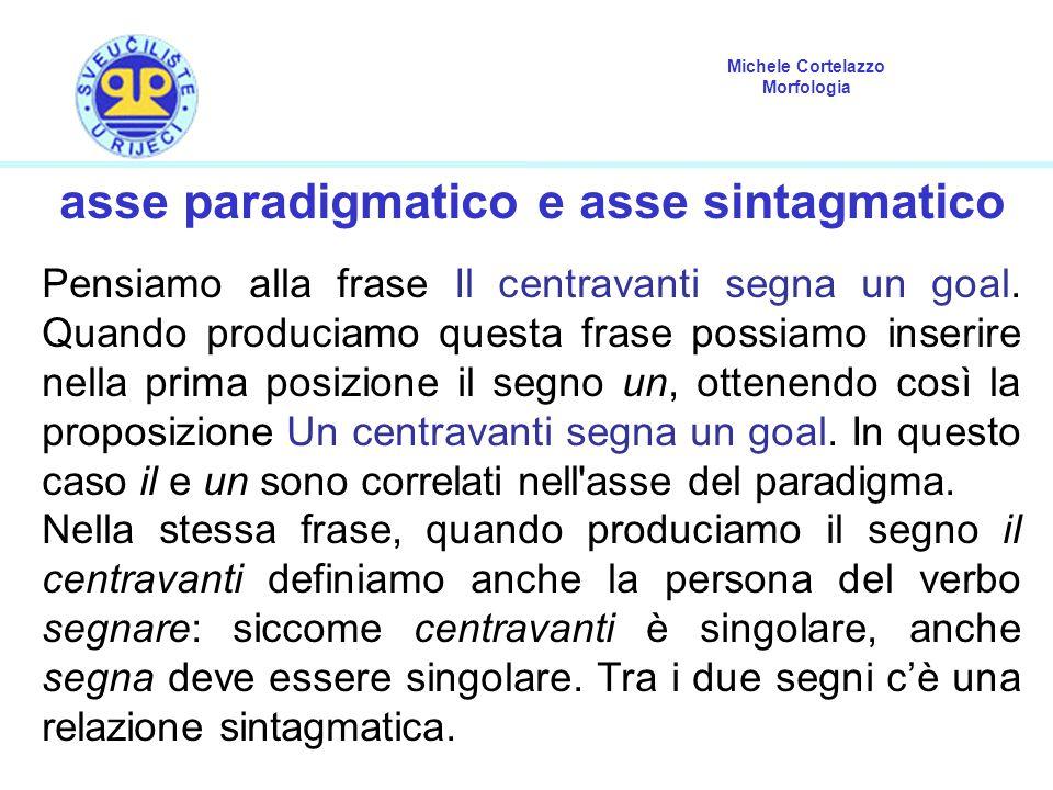 asse paradigmatico e asse sintagmatico