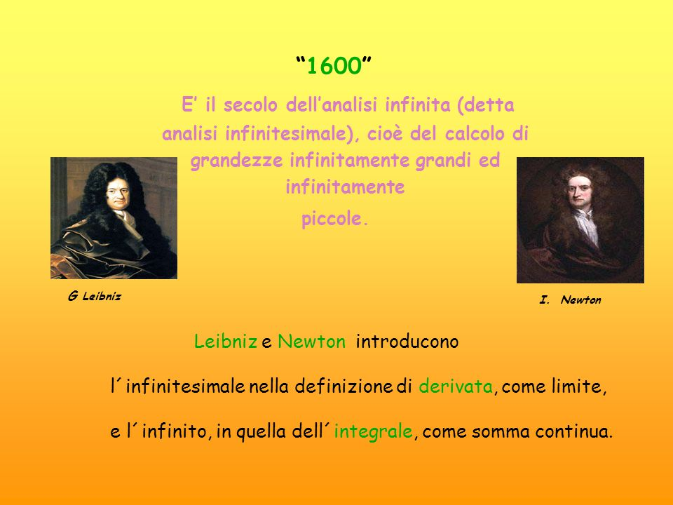 1600 E' il secolo dell'analisi infinita (detta analisi infinitesimale), cioè del calcolo di grandezze infinitamente grandi ed infinitamente.
