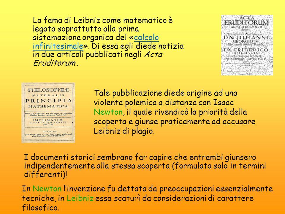La fama di Leibniz come matematico è legata soprattutto alla prima sistemazione organica del «calcolo infinitesimale». Di essa egli diede notizia in due articoli pubblicati negli Acta Eruditorum .