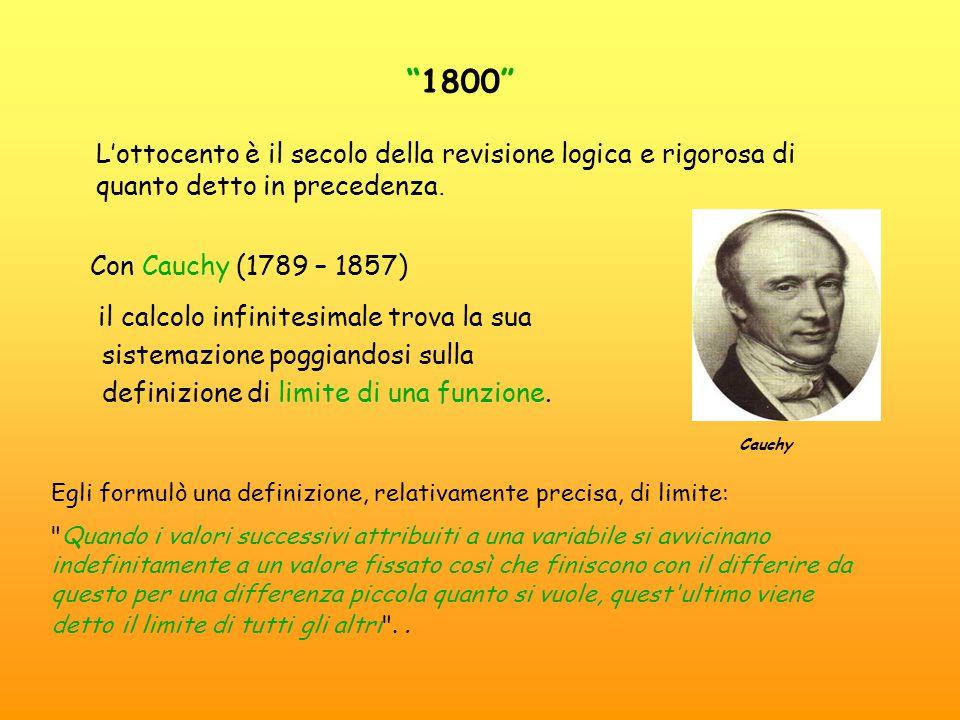 1800 L'ottocento è il secolo della revisione logica e rigorosa di quanto detto in precedenza. Con Cauchy (1789 – 1857)