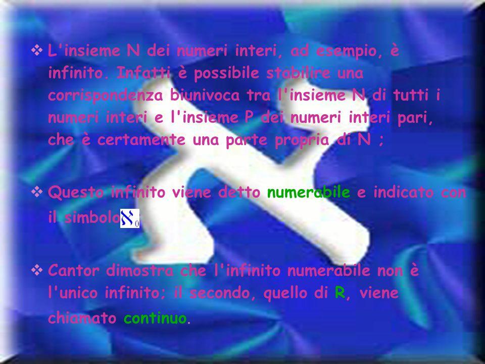 L insieme N dei numeri interi, ad esempio, è infinito