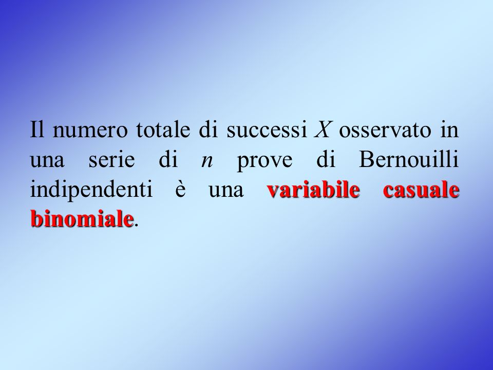 Il numero totale di successi X osservato in una serie di n prove di Bernouilli indipendenti è una variabile casuale binomiale.