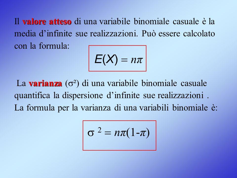Il valore atteso di una variabile binomiale casuale è la media d'infinite sue realizzazioni. Può essere calcolato con la formula: