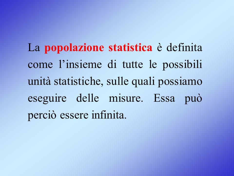La popolazione statistica è definita come l'insieme di tutte le possibili unità statistiche, sulle quali possiamo eseguire delle misure.