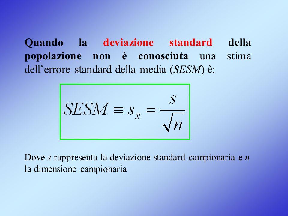 Quando la deviazione standard della popolazione non è conosciuta una stima dell'errore standard della media (SESM) è: