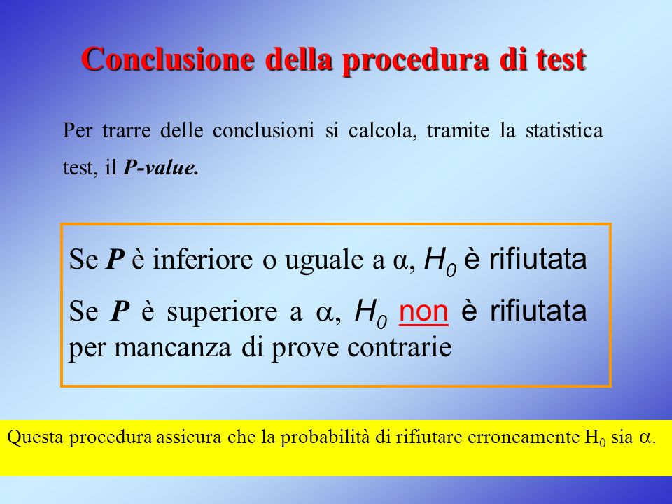 Conclusione della procedura di test