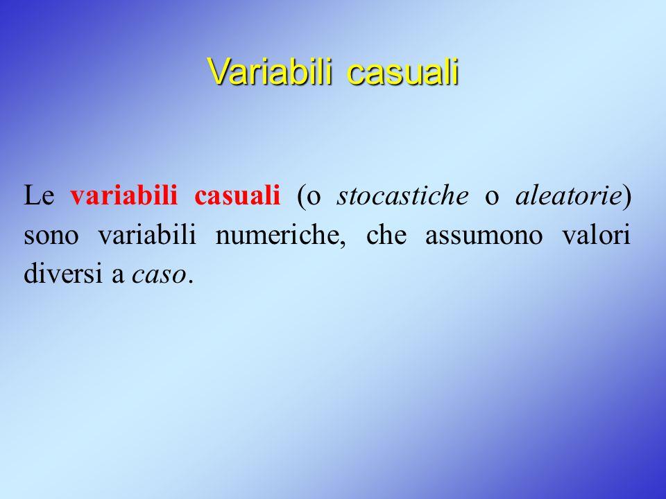 Variabili casuali Le variabili casuali (o stocastiche o aleatorie) sono variabili numeriche, che assumono valori diversi a caso.