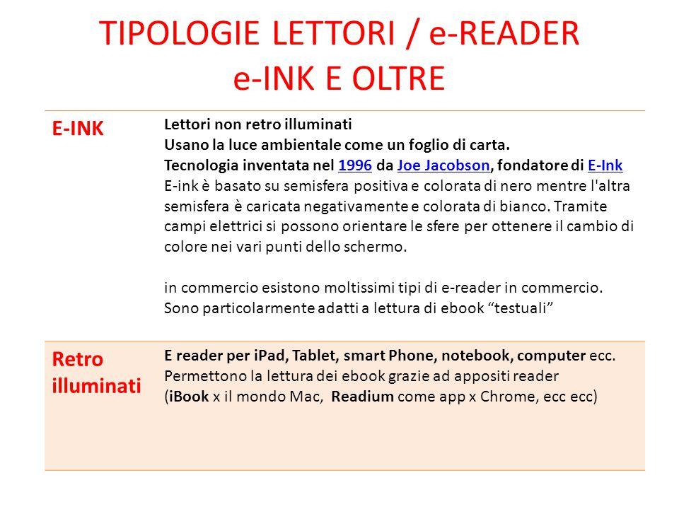 Tipologie LETTORI / e-reader e-INK E OLTRE