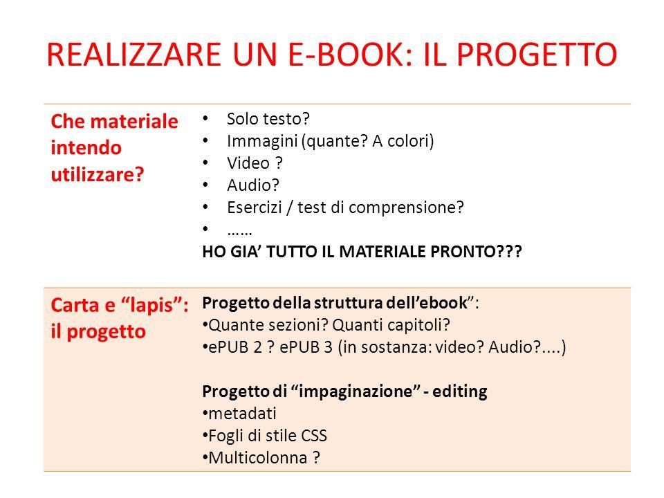 Realizzare un e-book: IL PROGETTO