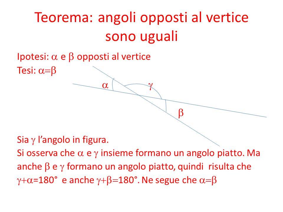 Teorema: angoli opposti al vertice sono uguali