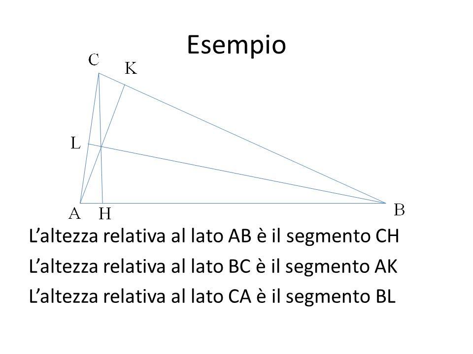 Esempio L'altezza relativa al lato AB è il segmento CH L'altezza relativa al lato BC è il segmento AK L'altezza relativa al lato CA è il segmento BL