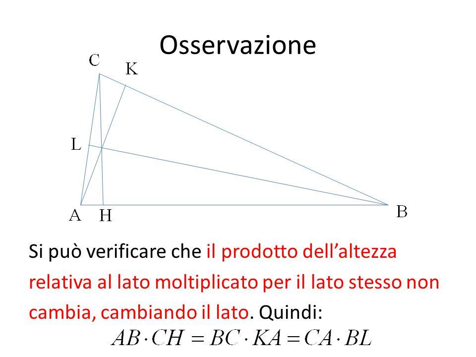 Osservazione Si può verificare che il prodotto dell'altezza relativa al lato moltiplicato per il lato stesso non cambia, cambiando il lato.