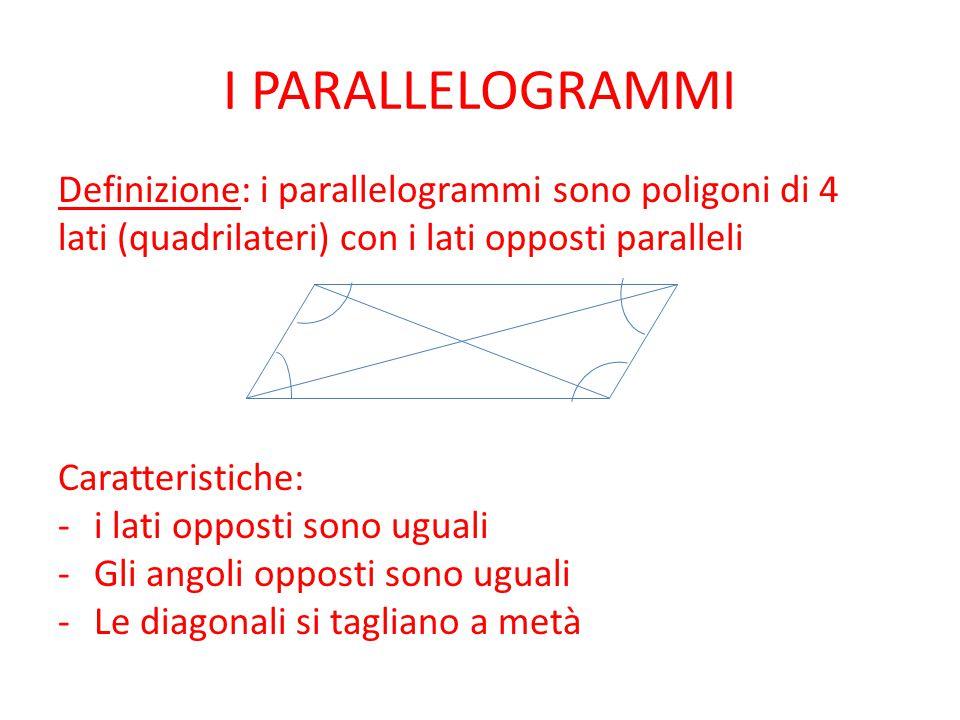 I PARALLELOGRAMMI Definizione: i parallelogrammi sono poligoni di 4