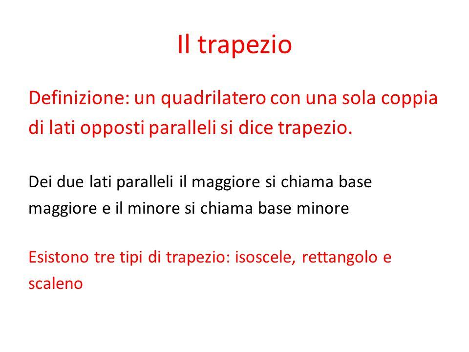 Il trapezio Definizione: un quadrilatero con una sola coppia