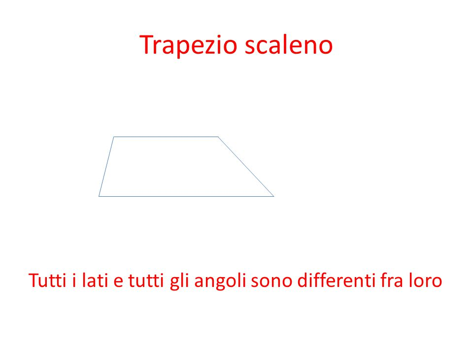 Trapezio scaleno Tutti i lati e tutti gli angoli sono differenti fra loro