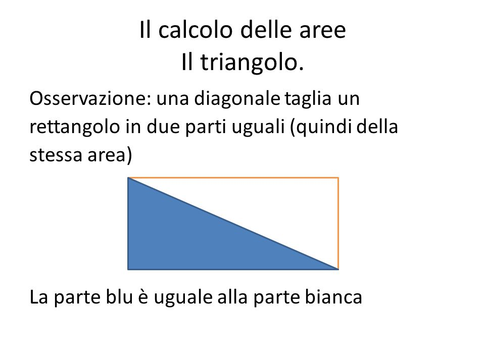 Il calcolo delle aree Il triangolo.