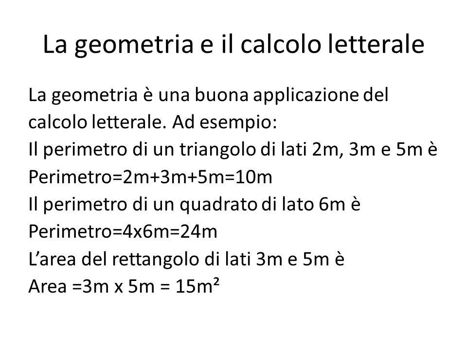 La geometria e il calcolo letterale