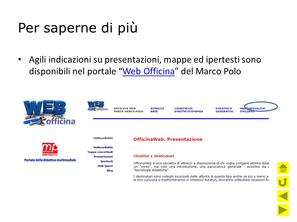 Per saperne di più Agili indicazioni su presentazioni, mappe ed ipertesti sono disponibili nel portale Web Officina del Marco Polo.