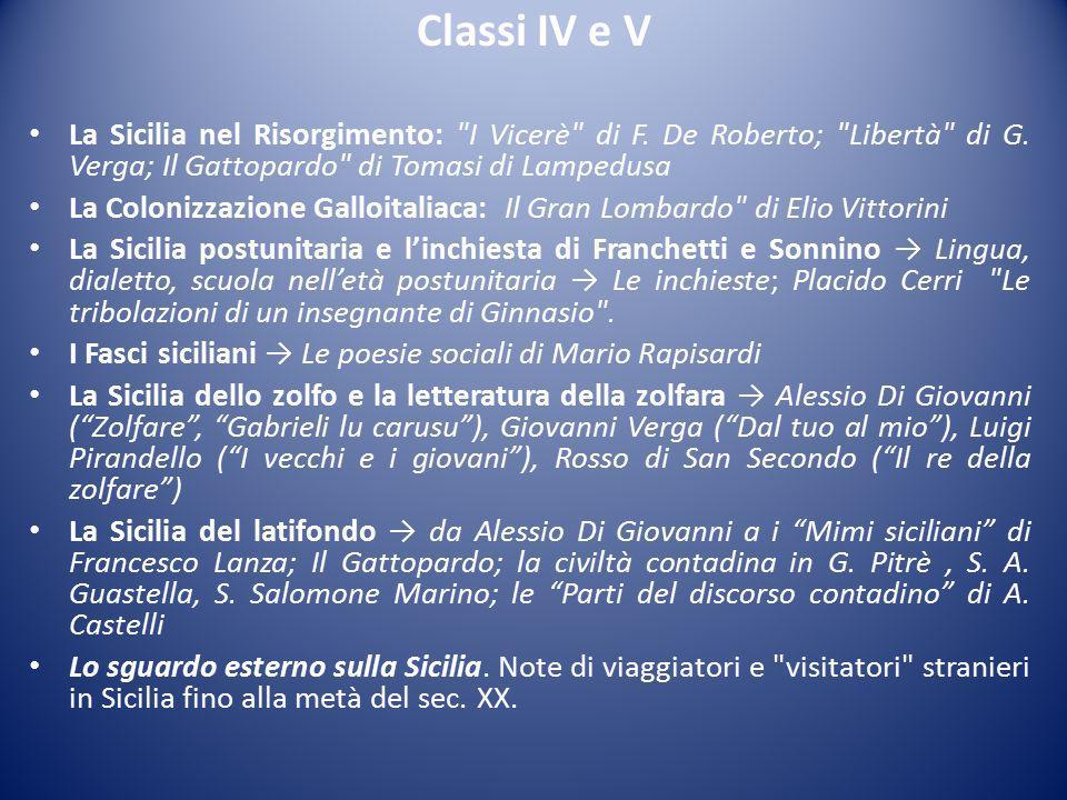 Classi IV e V La Sicilia nel Risorgimento: I Vicerè di F. De Roberto; Libertà di G. Verga; Il Gattopardo di Tomasi di Lampedusa.