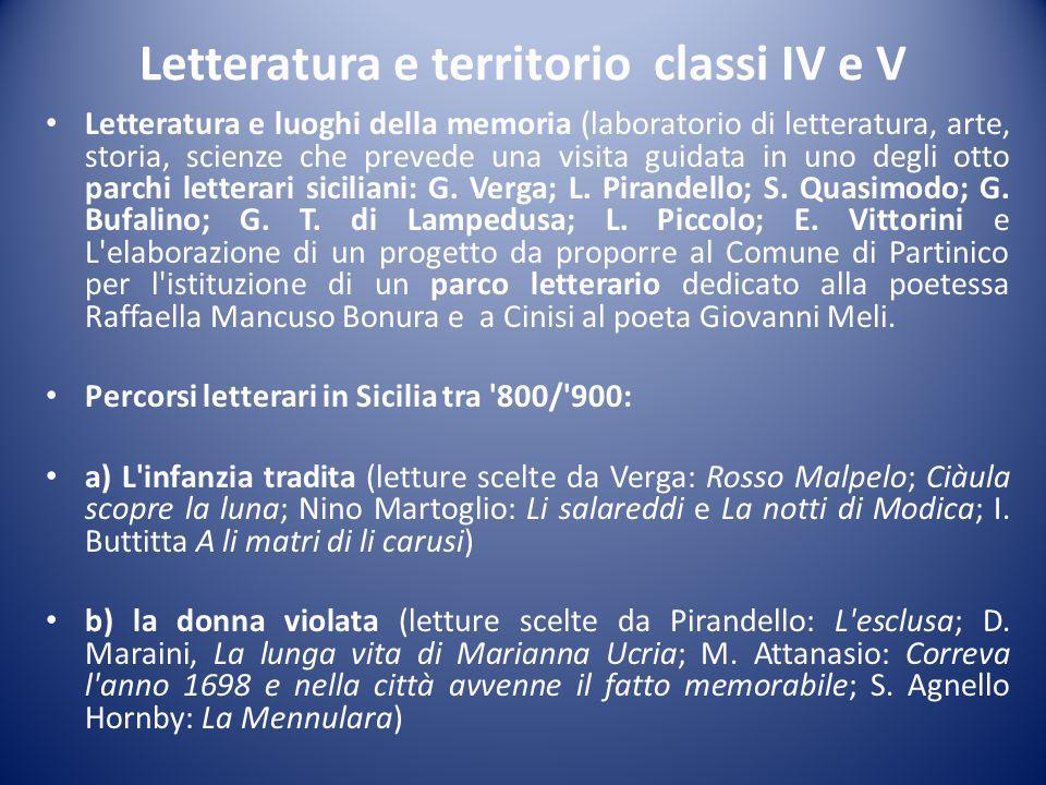 Letteratura e territorio classi IV e V