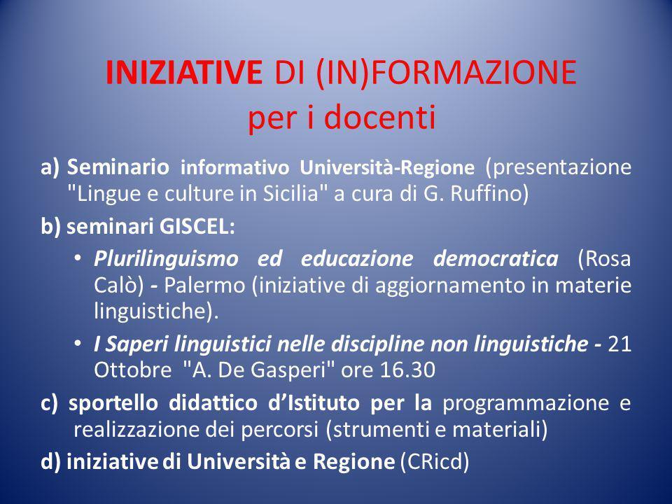INIZIATIVE DI (IN)FORMAZIONE per i docenti