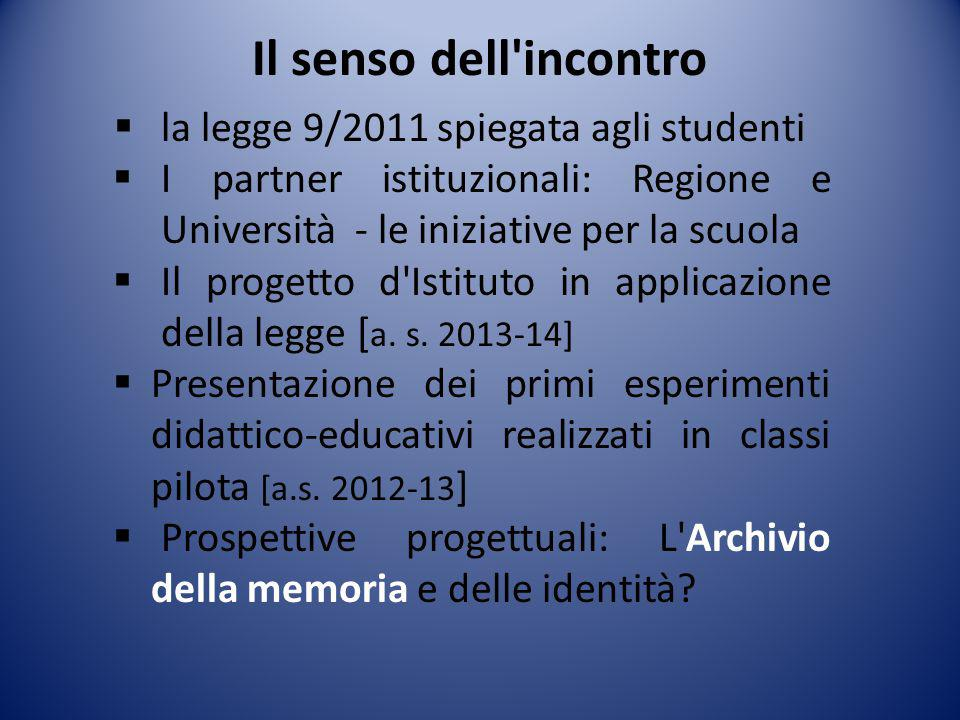 Il senso dell incontro la legge 9/2011 spiegata agli studenti