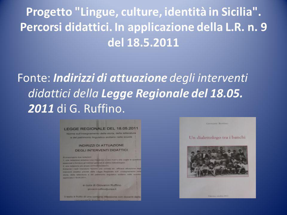 Progetto Lingue, culture, identità in Sicilia . Percorsi didattici