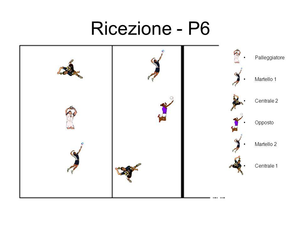 Ricezione - P6 Palleggiatore Martello 1 Centrale 2 Opposto Martello 2