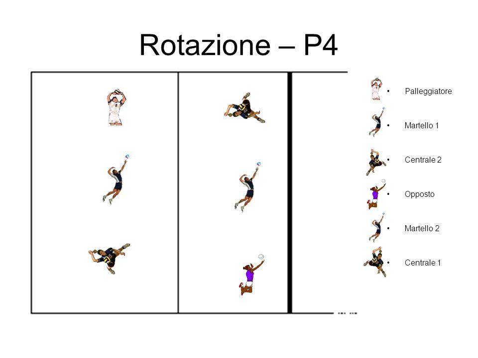 Rotazione – P4 Palleggiatore Martello 1 Centrale 2 Opposto Martello 2
