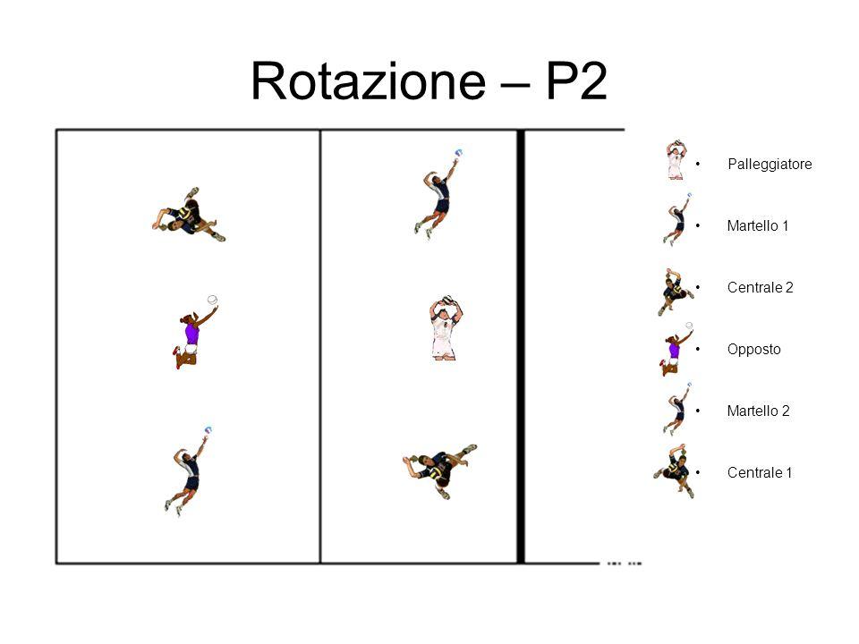 Rotazione – P2 Palleggiatore Martello 1 Centrale 2 Opposto Martello 2