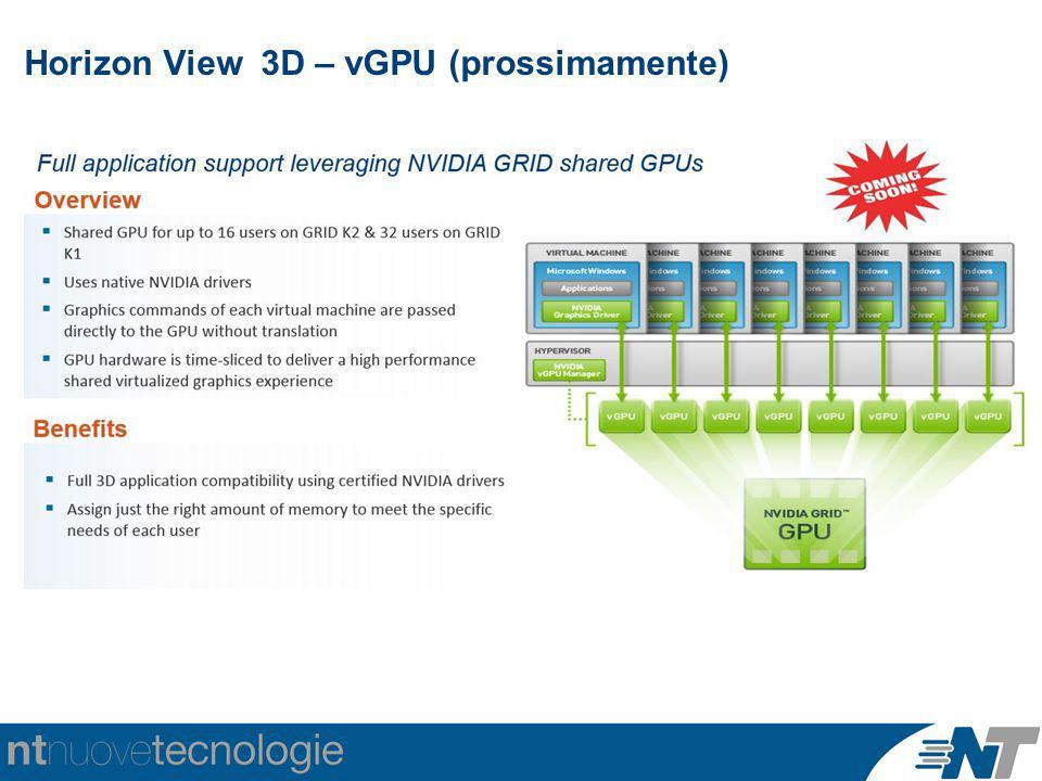 Horizon View 3D – vGPU (prossimamente)