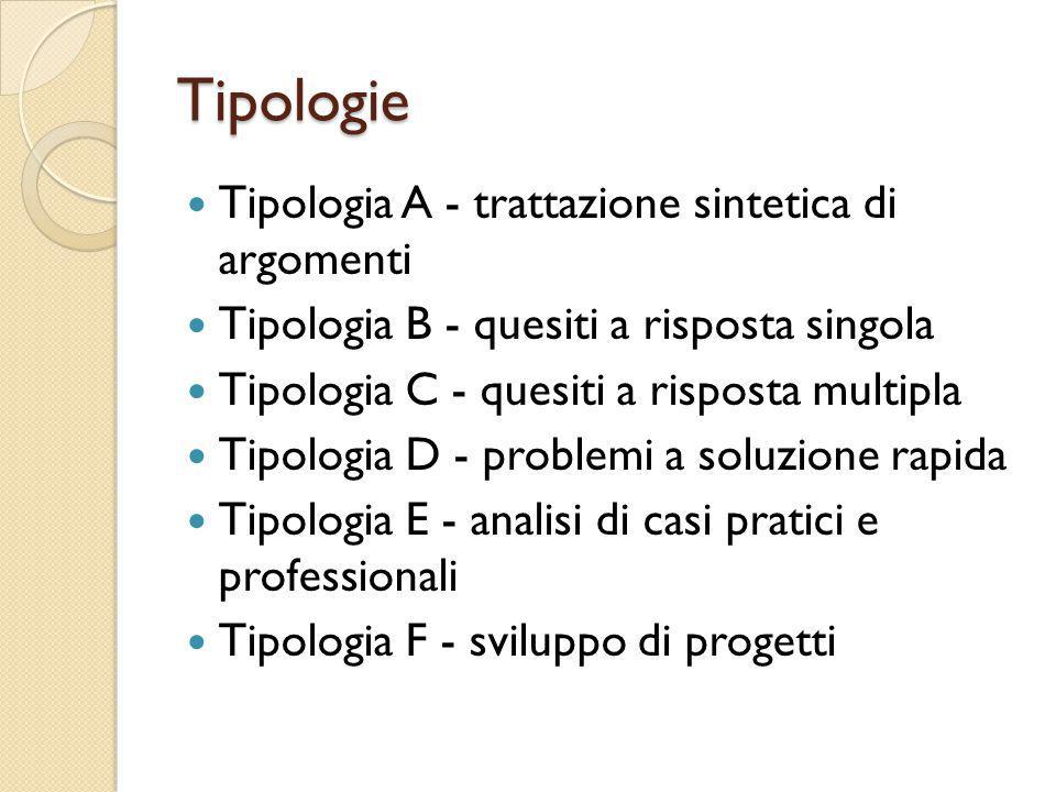 Tipologie Tipologia A - trattazione sintetica di argomenti