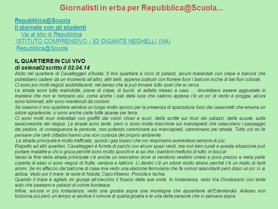 Giornalisti in erba per Repubblica@Scuola...